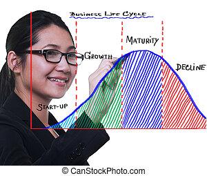 жизнь, женщина, бизнес, диаграмма, рисование, цикл