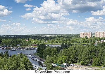 жилой, high-rise., река, посмотреть