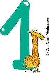 жирафа, номер, один