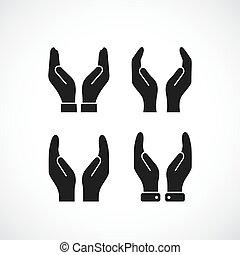 забота, вектор, значок, руки