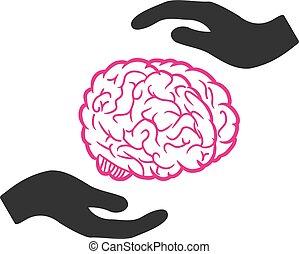 забота, головной мозг, вектор, значок, руки