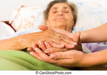 заботливая, медсестра, держа, руки
