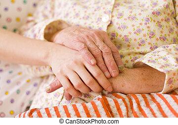 заботливая, нуждающийся, помощь, -, руки