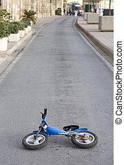 заброшенный, kids, велосипед, на, deserted, дорога