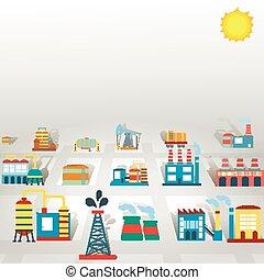 завод, квартира, промышленность, задний план, with, manufactory, производство, and, технологии, buildings, вектор, иллюстрация