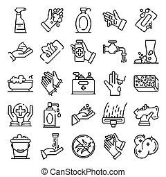 задавать, стиль, контур, санитария, icons