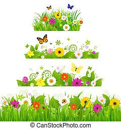 задавать, цветы, трава