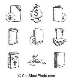 задавать, books, пустой, icons