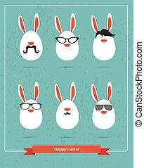 задавать, icons, -, хипстер, стильный, пасха, кролик, счастливый
