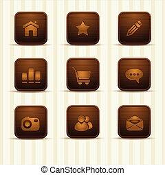 задавать, of, деревянный, relistic, icons