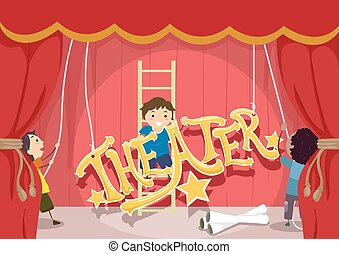 задавать, stickman, вверх, иллюстрация, kids, театр