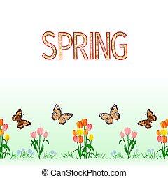 задний план, бесшовный, граница, бабочка, вектор, tulips, весна
