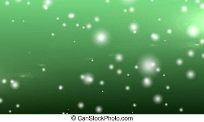 задний план, зеленый, пятно, snowflakes, falling, против