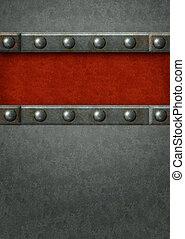 задний план, -, металл, plates, with, rivets