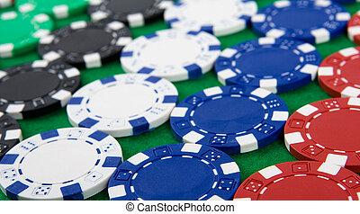 задний план, of, покер, чипсы