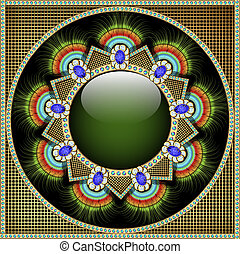 задний план, with, драгоценный, stones, шаблон, в, форма,...
