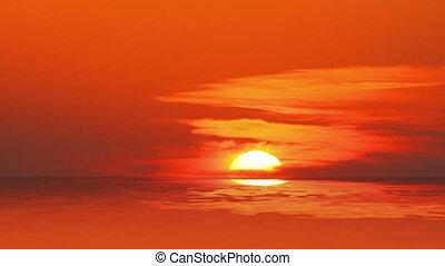 закат солнца, над, timelapse, -, море