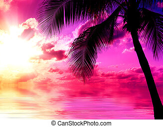 закат солнца, пляж