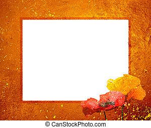 закат солнца, рамка, гранж, 8x10