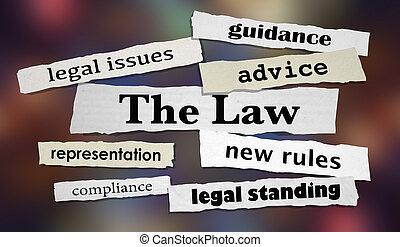 , закон, правовой, headlines, совет, адвокат, адвокат, 3d, иллюстрация