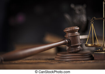 закон, тема, колотушка, of, судья, деревянный, молоток