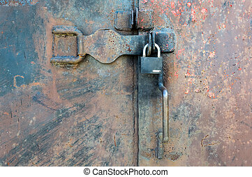 закрыто, металл, дверь, with, замок