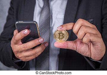 закрыть, вверх, бизнес, человек, with, bitcoin, and, с помощью, мобильный, телефон