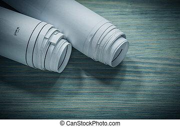 закрыть, вверх, посмотреть, rolled, blueprints, на, доска