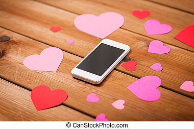 закрыть, вверх, of, смартфон, and, hearts, на, дерево