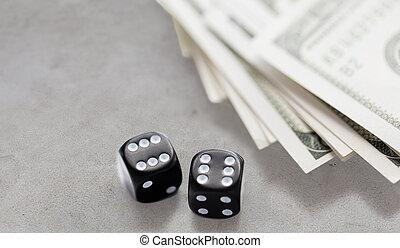 закрыть, вверх, of, черный, игральная кость, and, доллар, денежные средства, деньги