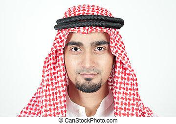 закрыть, вверх, of, an, арабский, человек
