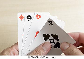 закрыть, вверх, of, playing, карта, рука, of, 4, aces