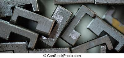 закрыть, вверх, of, stacked, металл, plates