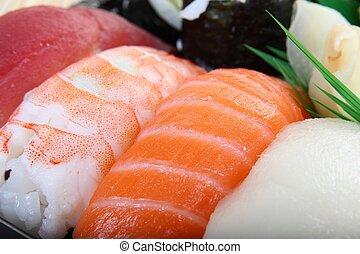 закрыть, of, суши, -, здоровый, японский, питание