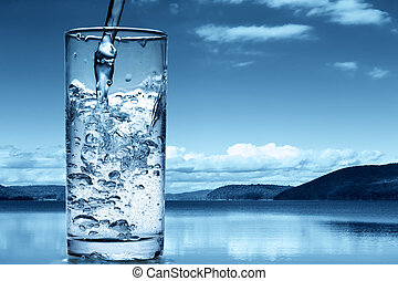 заливка, природа, против, воды, стакан, задний план