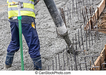 заливка, directing, трубка, работник, бетон, насос, ...