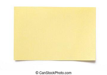 заметка, бумага, желтый
