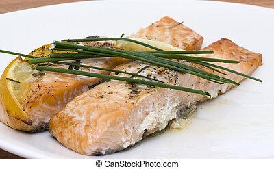 запеченный, лосось