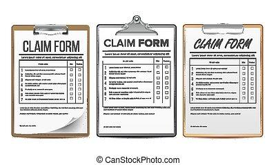 запрос, задавать, форма, бизнес, agreement., правовой, реалистический, иллюстрация, vector., insurance., document.