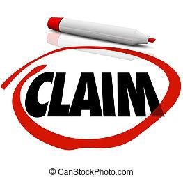 запрос, слово, circled, красный, маркер, страхование, мнимый, проверить