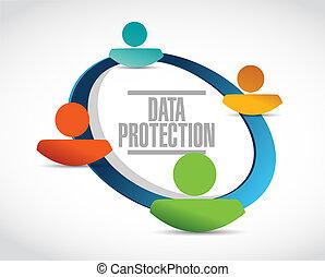 защита, данные, сеть, иллюстрация, знак