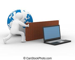 защищенный, глобальный, сеть, , internet., 3d, image.
