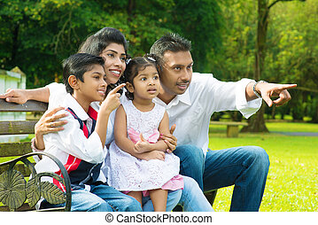 за пределами, индийский, семья, счастливый