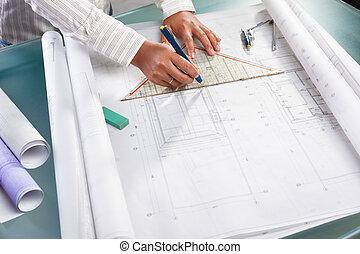 за работой, на, архитектура, дизайн