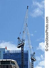 здание, австралия, apartments, cranes, сайт, строительство, блок, сидней, новый, уэльс, работает, юг