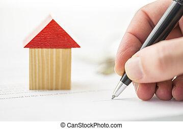 здание, блок дерева, рука, письмо