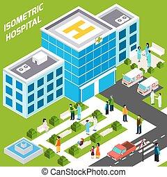 здание, больница, изометрический