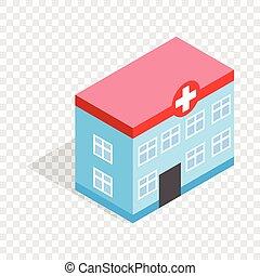 здание, больница, изометрический, значок
