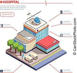 здание, больница, изометрический, иллюстрация