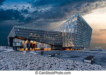 здание, визуализация, оказывать, современное, коммерческая, стакан, 3d